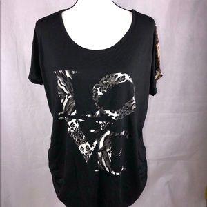 Free Kisses Women's Black Leopard Shirt